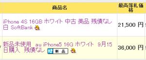 iphone5の落札価格